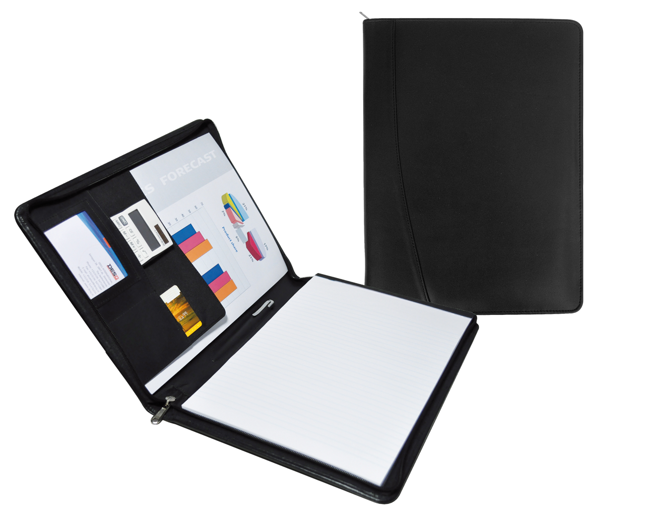 3690 - A4 Zippered leather Conference folder - DESQ